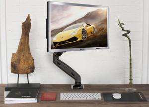 Otočný, sklopný a výškově nastavitelný stolní držák na monitor Fiber Mounts F80